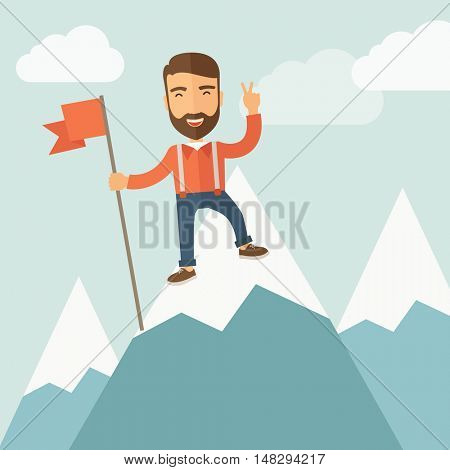 A hipster businessman climbed using the ladder and standing on the top of the mountain holding the red flag. Leadership concept. A contemporary style with pastel palette soft blue tinted background