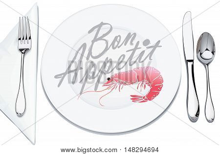 serving plates and cutlery, decorated with shrimp and inscription bon appetit