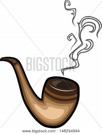 Cigar pipe or hookah with smoke on white background vector illustration