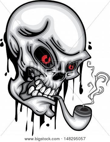 Skull head with cigar pipe, smoke, and hookah red eye 3d vector on white background