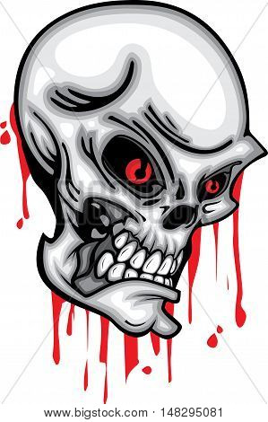 Skull head red eye 3d vector with blood on white background