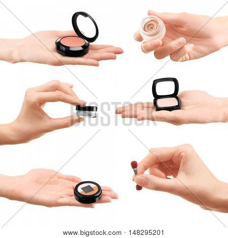 Set of female hands with different cosmetics on white background