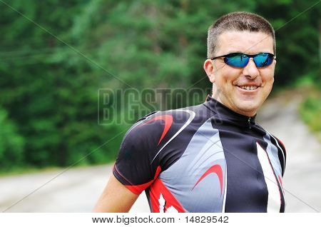 mountain bike with sport sunglasses portrait outdoor