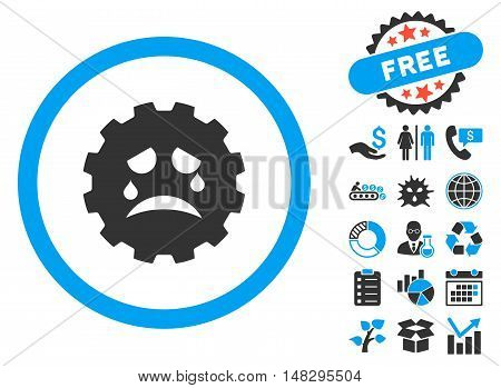 Gear Tears Smiley pictograph with free bonus pictures. Glyph illustration style is flat iconic bicolor symbols, blue and gray colors, white background.