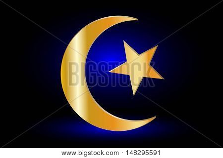Muslim symbol ,Islam Symbol ,Crescent and Star ,icon of Islam on a blue background