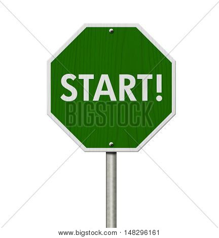 Green Start highway road sign Green stop highway sign with words Start isolated over white 3D Illustration