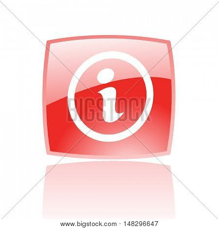 Glossy info in red button isolated on white