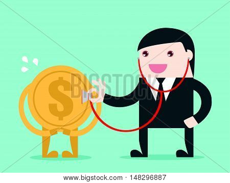 Money Check Up. Financial Health Check. Use Stethoscope To Check Coin Health