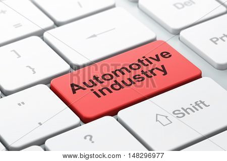 Industry concept: computer keyboard with word Automotive Industry, selected focus on enter button background, 3D rendering