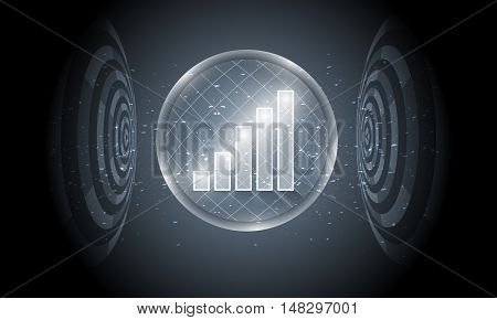 Vector futuristic background with transparent circular objects and chart
