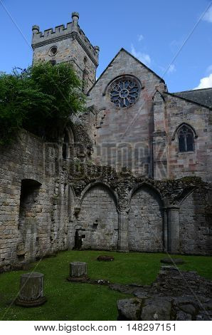 A view of the ruins of the medieval abbey at Culross