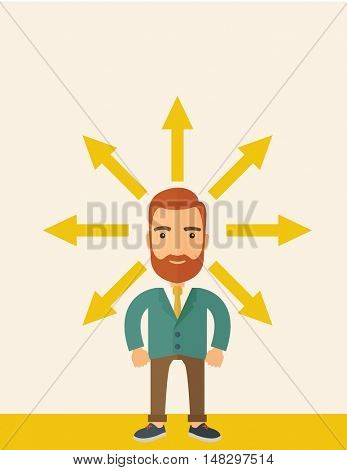 A hipster Caucasian businessman happily standing with arrows around him that shows his success in reaching his target in business. Business growth concept. A contemporary style with pastel palette