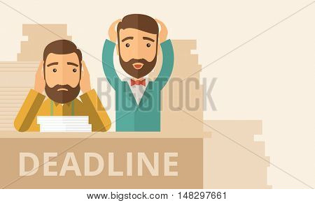 Two sad face hipster Caucasian gentlemen with beard has a big problem because they failed to submit their project  on the deadline with their  two hands raising up. Disappointed, miserable concept. A