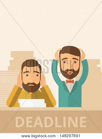 Two sad face hipster Caucasian gentlemen with beard has a big problem because they failed to submit their project  on time with thier hands raising. Disappointed, miserable concept. A contemporary