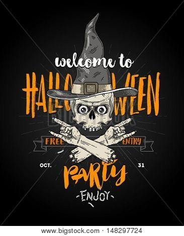 Halloween poster with zombie head in witch hat and severed hand - line art vector illustration with hand drawn brush calligraphy.