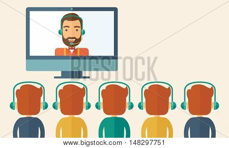 A happy Caucasian businessman in a monitor with beard giving a business presentation with three men infront of him wearing their headphones. Business presentation concept. A contemporary style with