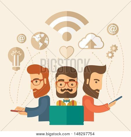 Three outstanding hipster Caucasian employees with beard discussing and sharing brilliant ideas, gathering an information, preparing for their marketing plan presentation using their tablets and