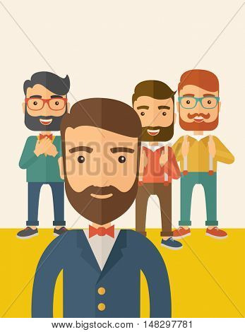 Team of four happy hipster Caucasian business people with beard, standing clapping their hands and smiling. Winner, teamwork concept. A contemporary style with pastel palette, beige tinted background
