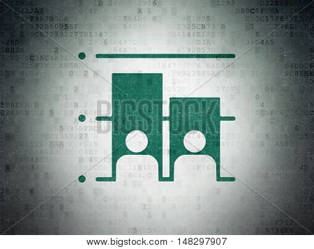 Political concept: Painted green Election icon on Digital Data Paper background