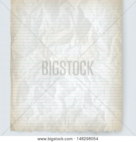 Vector crumpled lined paper for your text