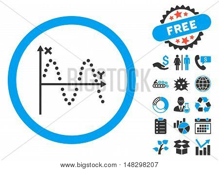 Sine Plot icon with free bonus clip art. Glyph illustration style is flat iconic bicolor symbols, blue and gray colors, white background.