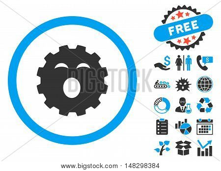 Sleepy Gear pictograph with free bonus design elements. Glyph illustration style is flat iconic bicolor symbols, blue and gray colors, white background.