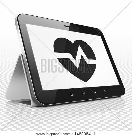 Medicine concept: Tablet Computer with black Heart icon on display, 3D rendering