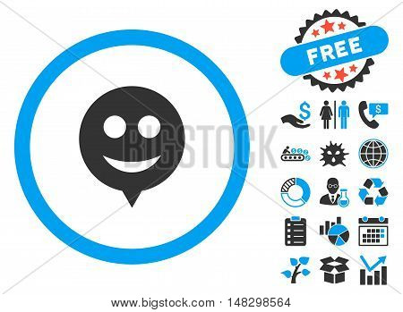 Smile Hint icon with free bonus clip art. Glyph illustration style is flat iconic bicolor symbols, blue and gray colors, white background.