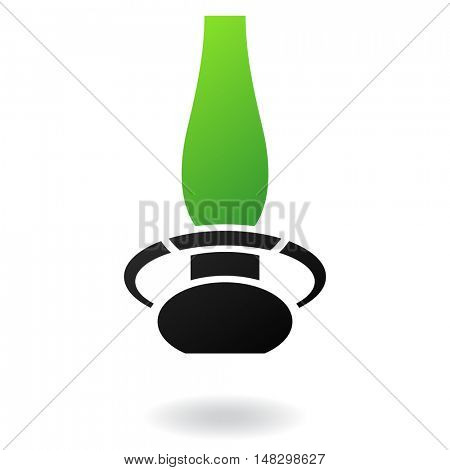 Gas lamp with green glass and black body isolated on white