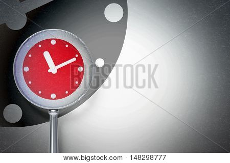 Timeline concept: magnifying optical glass with Clock icon on digital background, empty copyspace for card, text, advertising, 3D rendering