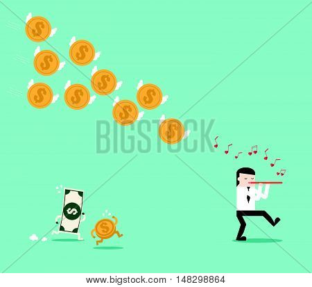 Blown Flute Call The Dollar Coin Follow Businessman