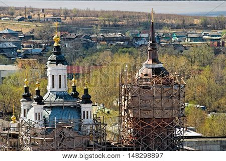 Tobolsk, Russia - May 2, 2010: View on Church of Zakhariya and Elizabeth with scaffold