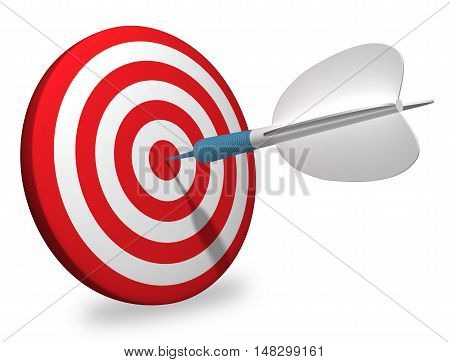 White dart 3D rendering target aiming winning dartboard