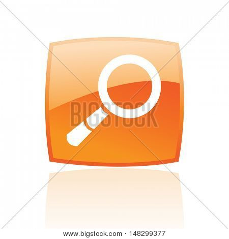 Glossy magnifier in orange button isolated on white