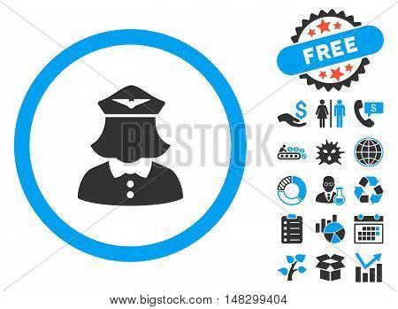 Stewardess icon with free bonus icon set. Glyph illustration style is flat iconic bicolor symbols, blue and gray colors, white background.