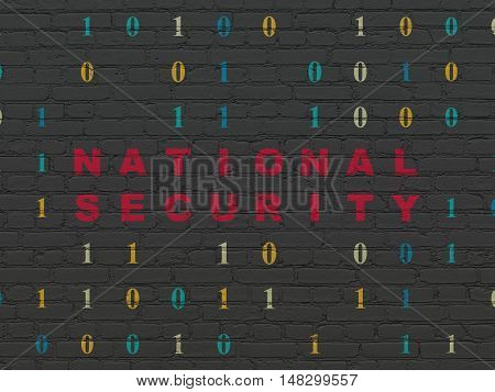 Security concept: Painted red text National Security on Black Brick wall background with Binary Code