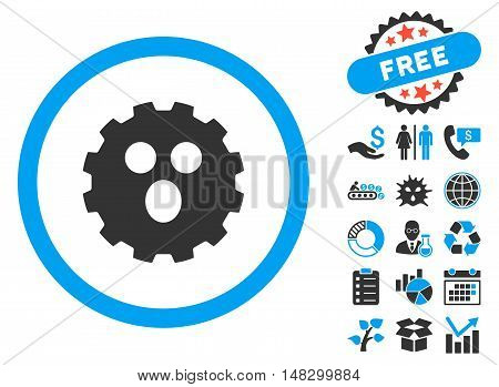Surprized Gear Smiley icon with free bonus clip art. Glyph illustration style is flat iconic bicolor symbols, blue and gray colors, white background.