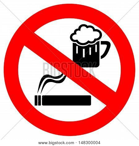 No drinking and smoking sign vector illustration isolated on white background