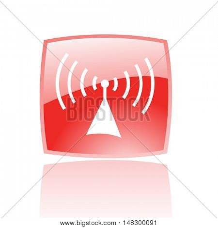 Glossy radio in red button isolated on white