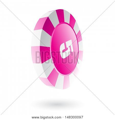 Pink roulette chip isolated on white