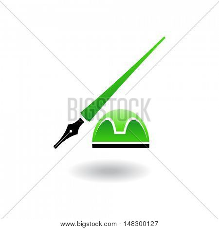 Green ink holder and stand isolated on white