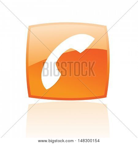 Glossy phone in orange button isolated on white