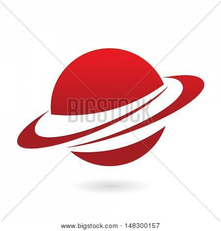 Red planet isolated on white