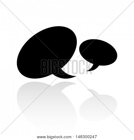 Black speech bubbles isolated on white