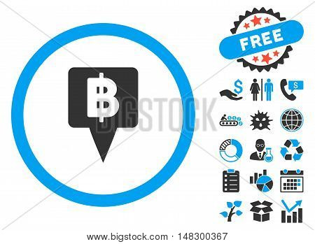 Thai Baht Map Pointer icon with free bonus images. Glyph illustration style is flat iconic bicolor symbols, blue and gray colors, white background.
