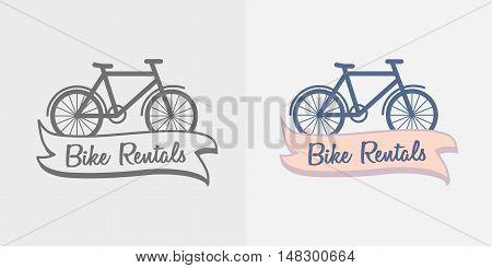 Bike Rentals Logo, Symbol Or Label Design Template. Monochrome And Color