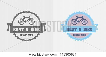 Rent A Bike Vector Logo, Badge Or Label Design Concept. Monochrome And Color