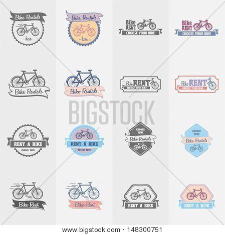 Bike Rentals Logos, Labels And Symbols Vector Set. Color And Monochrome