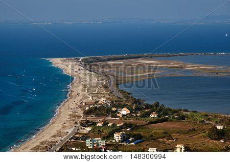 Sandy beach and lagoon on the Greek island of Lefkada