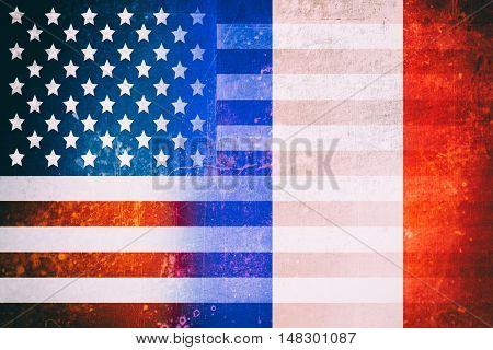USA and French flags - Vintage flag concept